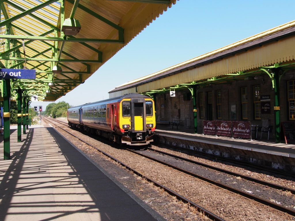 The station at Worksop with restored platform canopies